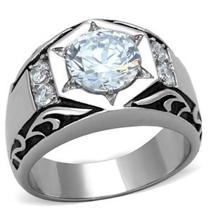 Other - STAINLESS STEEL Men's Large Round Cut AAA CZ Ring